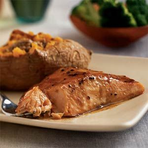 20-Minute Heart-Healthy Meals  | Sweet-Spicy Glazed Salmon | MyRecipes.com: Sweets, Food, Sweet Spicy Glazed, Cooking Light, Flavor Notes, Heart Healthy, Sauce, Salmon Recipes, Glazed Salmon