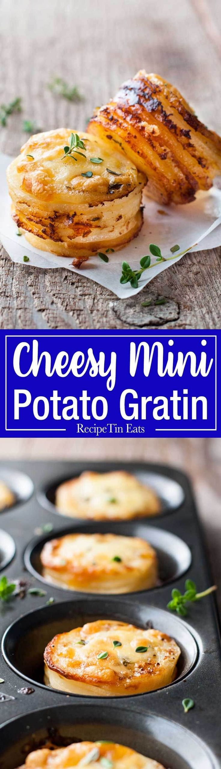 Mini Potato Gratin Stacks – great party food, breakfast with eggs or as a side for a fancy dinner. Made in a muffin tin! www.recipetineats.com