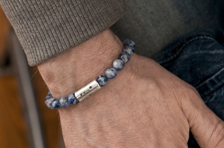 www.877workshop.com — Men's beaded bracelet Rocks Sodalite blue