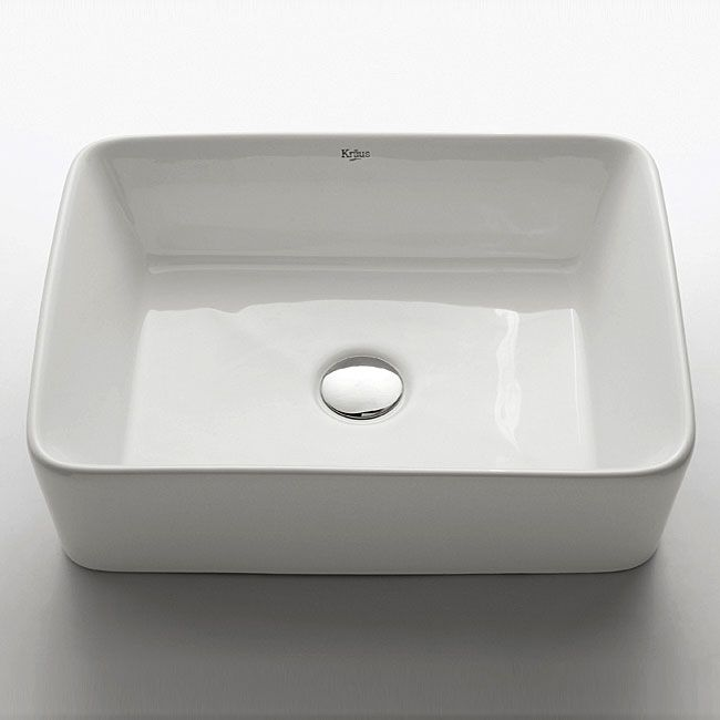 Kraus Rectangular Ceramic Vessel Bathroom Sink in White with Pop-Up
