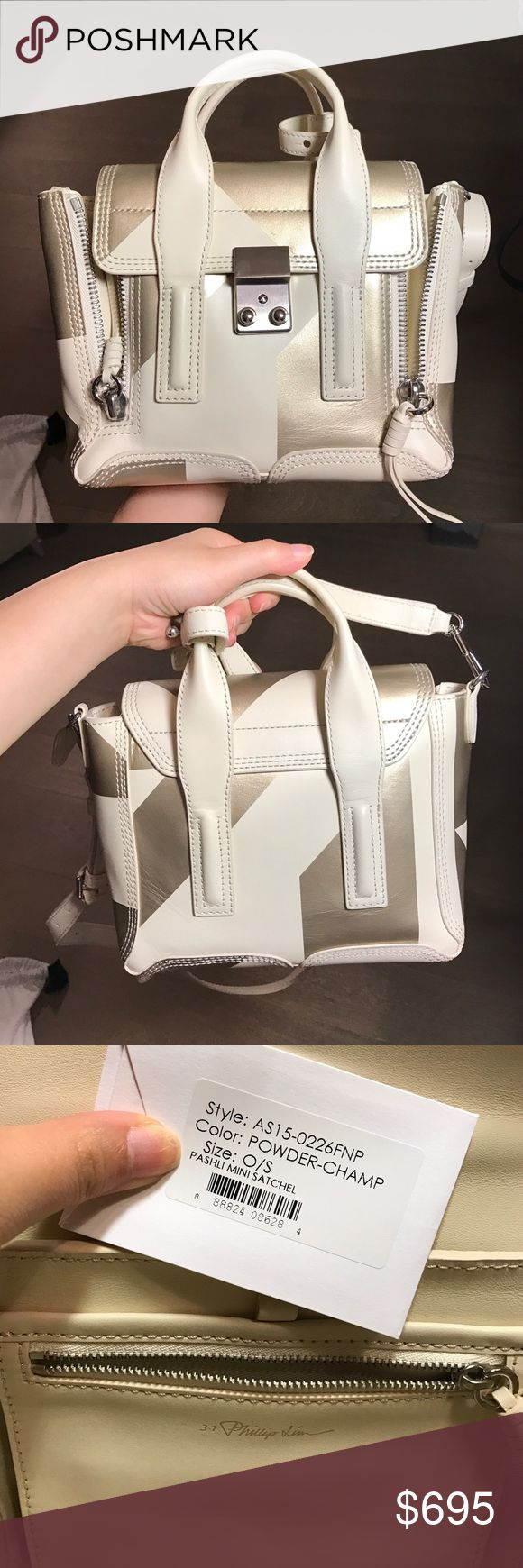 3.1 Phillip Lim Pashli Mini Satchel Height: 7in / 18 cm Length: 9 in / 23 cm Depth: 3.5 in / 9cm Strap Drop: 22 in/ 56 cm  Handle Drop: 2.25 in / 6cm  Color: Powder Champ Condition: Brand New Comes with dust bag Cheaper on merc (600 plus shipping). 3.1 Phillip Lim Bags