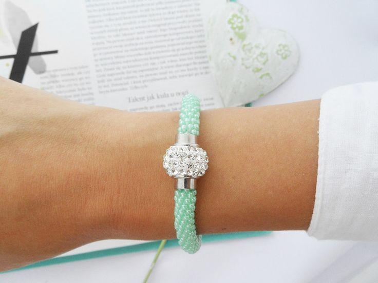 Mint Inspiration - ilovehandmade - Bransoletki z koralików  #bransoletka #biżuteria #bracelet #jewellery #jewelry #beadcrochet #beading #beadwork #mint #green