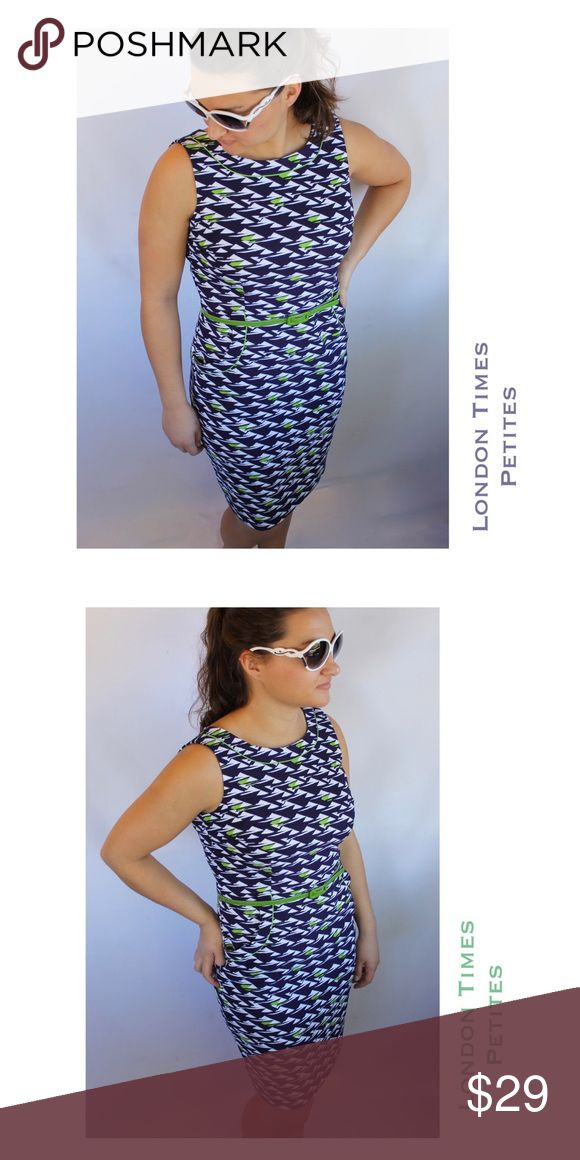 """(Sz 10P) London Times Navy/White/Green Sheath (Sz 10P) London Times Petite sheath dress in navy and white with lime piping around the necklace. Hidden back zipper. Darts at the bust, and side pockets, with an accentuating green belt. Like new. 🔹38"""" Bust, 32"""" Waist, 38"""" Length. 🔹97% Polyester, 3% Spandex. 🎈Eligible for BOGO sale. Please inquire for details.🎈 London Times Dresses"""