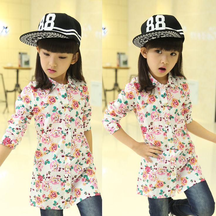 НОВЫЙ fashon цветочные рубашки для девочек-подростков хлопок весна осень траншеи для детей школьница блузка и пиджаки дети повседневная рубашка