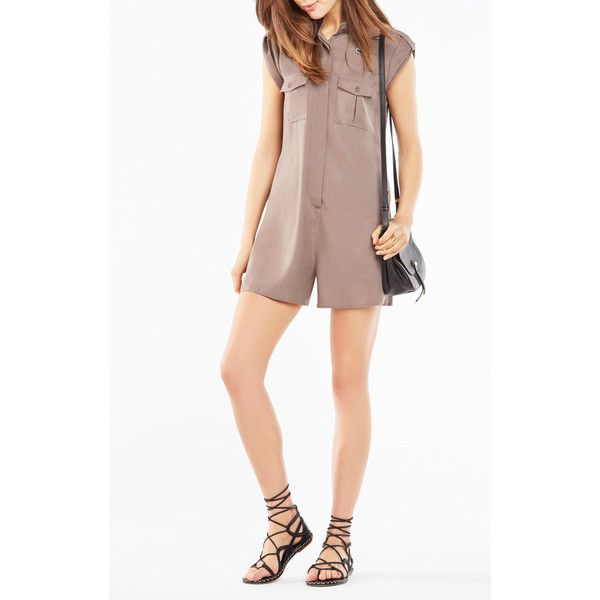BCBGMAXAZRIA Melanie Cargo Romper ($198) ❤ liked on Polyvore featuring jumpsuits, rompers, brown, brown romper, white rompers, white romper, bcbgmaxazria and playsuit romper