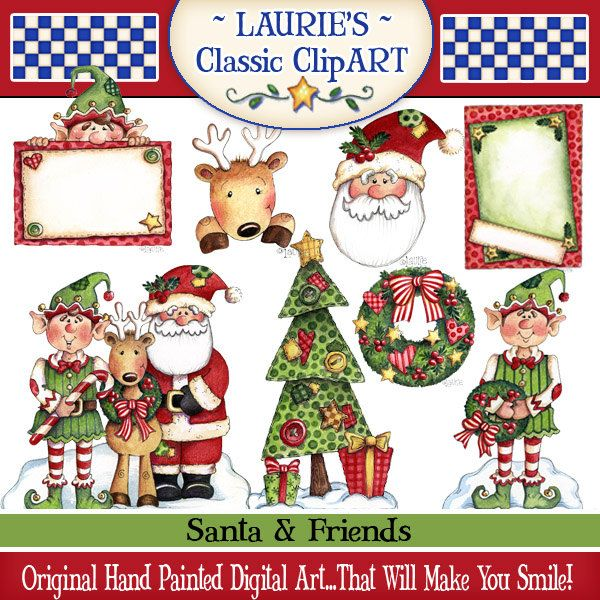 Christmas Digital Art, Santa clipart, Christmas clipart, printables, papercrafts, Laurie Furnell, Reindeer clipart, Elf clipart Elf graphics by lauriefurnelldesigns on Etsy