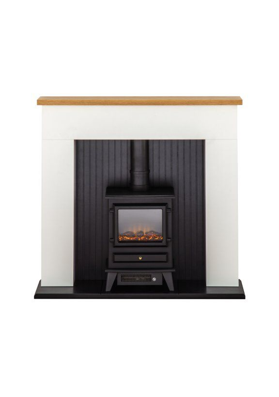 Adam Innsbruck Stove Suite in Pure White with Hudson Electric Stove 48 Inch | Electric Stove Suites | Fireplace Suites | Fireplace World