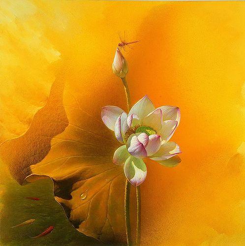 https://flic.kr/p/7WnWsj | Waterlilies by Jiang Debin Chinese Artist | www.artistsandart.org