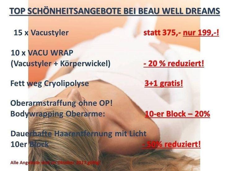 Top Oktober Schönheitsangebote bei Beau Well Dreams Wien  #aktion #angebot #kosmetik #figur #figurstudio #abnehmen #fett #fettweg #zellulitis #cellulitis #schlankheitsstudio #schlank  www.beau-well-dreams.at