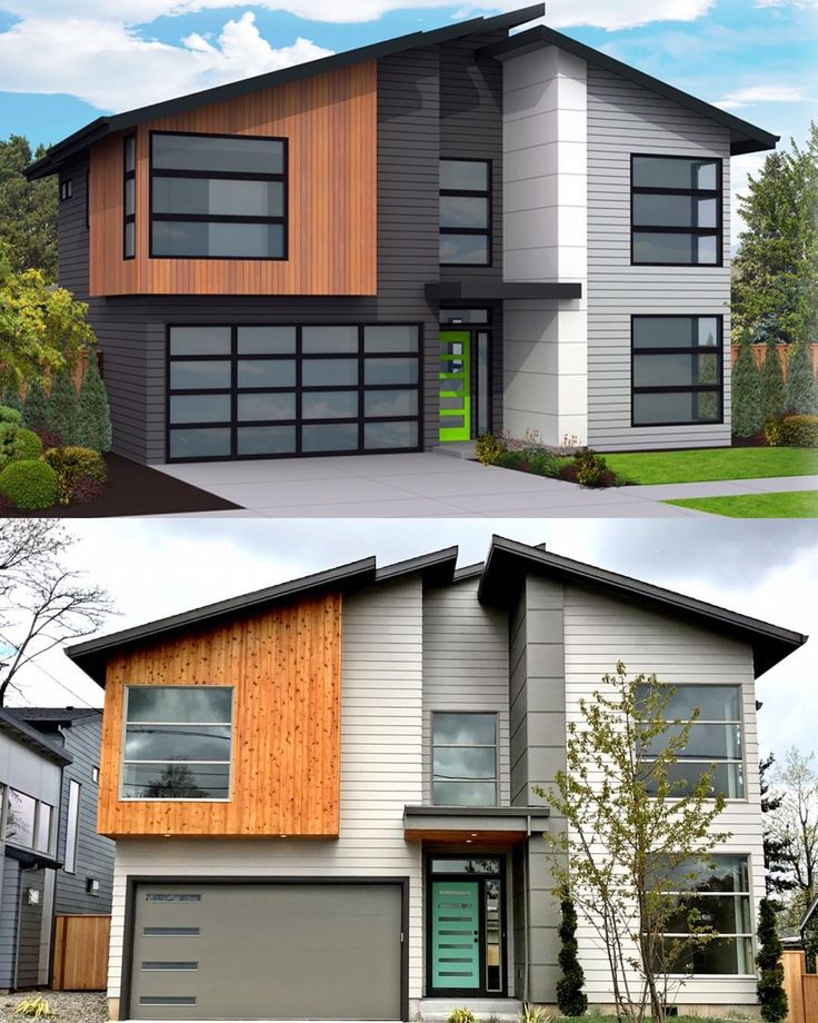 Modern Contemporaryhome Exterior Design: Rendering Vs Reality. #homedesign #architecture