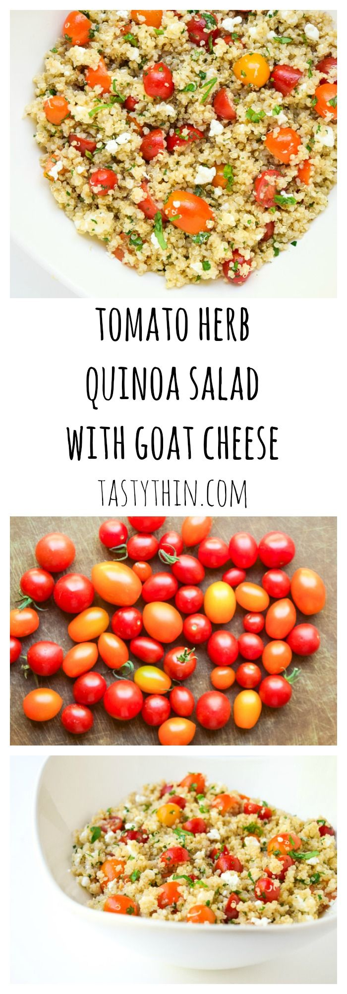 Tomato Herb Quinoa Salad - A trio of sweet cherry tomatoes, fresh herbs, and creamy goat cheese brighten this tasty salad!   tastythin.com
