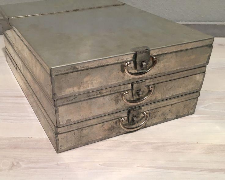 Vintage Tische - 3 alte Bank Schließfach Kassetten No.4*MID CENTURY - ein Designerstück von Mid-Century-Frankfurt bei DaWanda