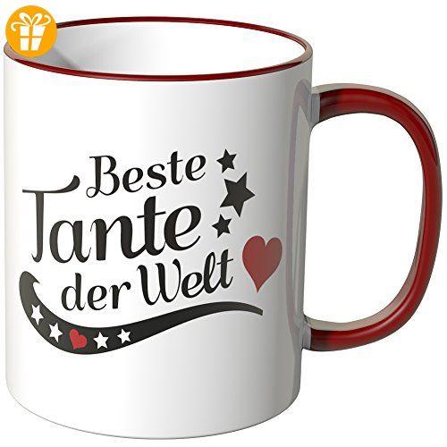 Wandkings® Tasse, Spruch: Beste Tante der Welt - ROT - Tassen mit Spruch | Lustige Kaffeebecher (*Partner-Link)