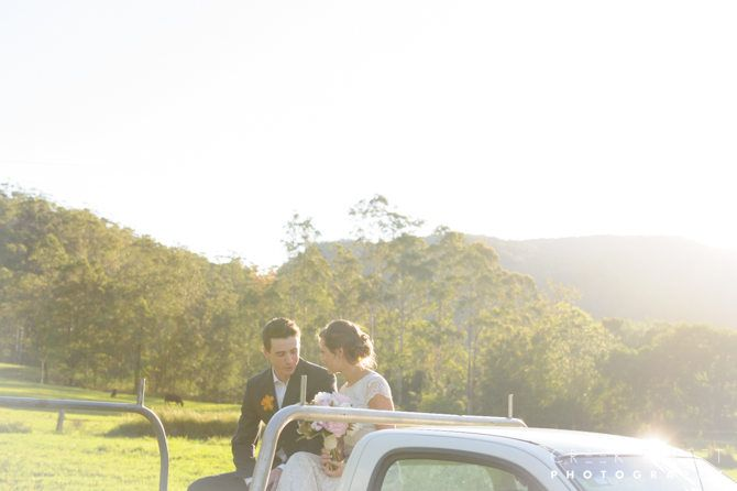 Out of town wedding Amber & Guy in the back of the Ute