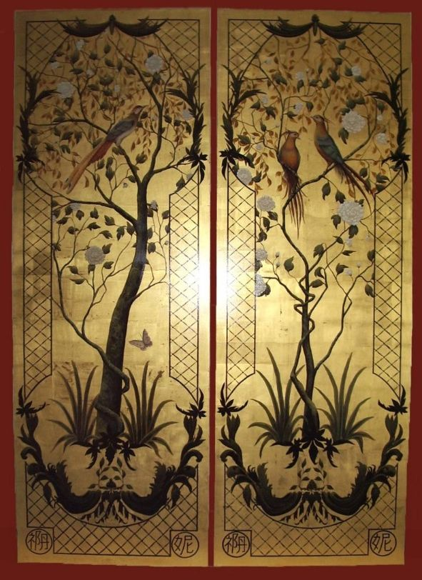 Chinoiserie Panels painted on 23.5 carat gold leaf Art