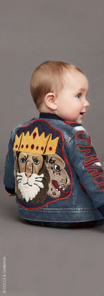 ON SALE!!! So Cute...Love this DOLCE & GABBANA Baby Boy 'King is Back' Appliqué Jacket.  Super Cool Streetwear Look for Stylish Baby Boys. Mini Me Jacket from the Mens Dolce & Gabbana Collection. #kidsfashion #babyclothes #fashion #dolcegabbana #minime