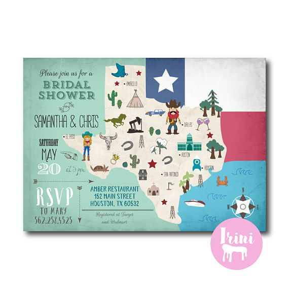Country vintage couples bridal shower invitation  map texas
