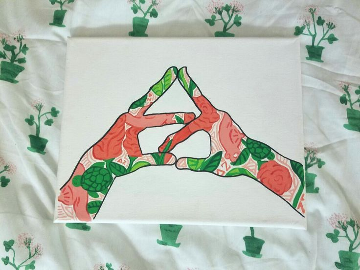 Delta Zeta Canvas (Lily Pulitzer print sorority hand sign). Perfect for big/little gift!