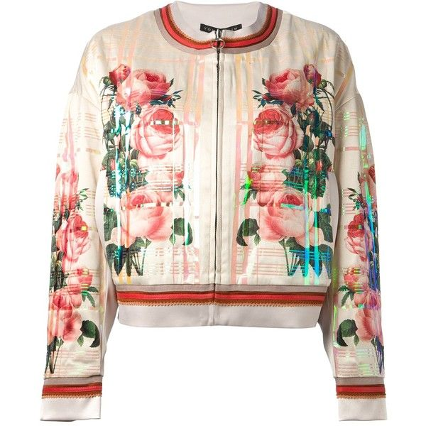 Yohan Kim Floral Print Bomber Jacket (7.295 ARS) ❤ liked on Polyvore featuring outerwear, jackets, coats, flight jacket, checkered jacket, floral bomber jacket, flower print jacket and bomber jackets