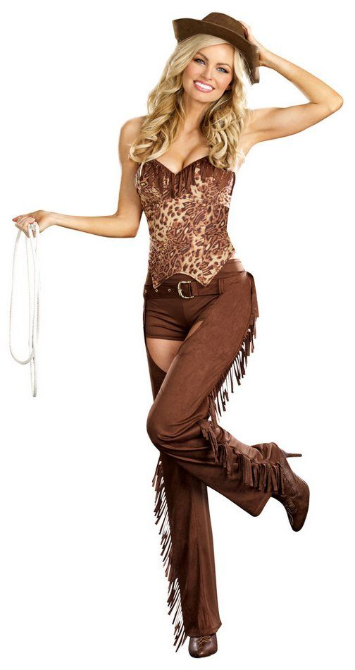 You'll be ready to rope and ride in this sexy cowgirl costume! Women's costume includes brown faux suede chaps with belt, brown boy shorts, leopard print bustier top with fringe trim, and brown cowboy hat.