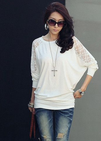 Woman's Alluring Lace Patchwork Batwing Sleeve T-Shirts – teeteecee - fashion in style