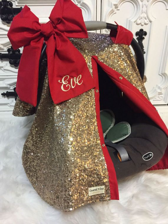 Gold sparkle car seat canopy with bow and name / by CoveredNLove1