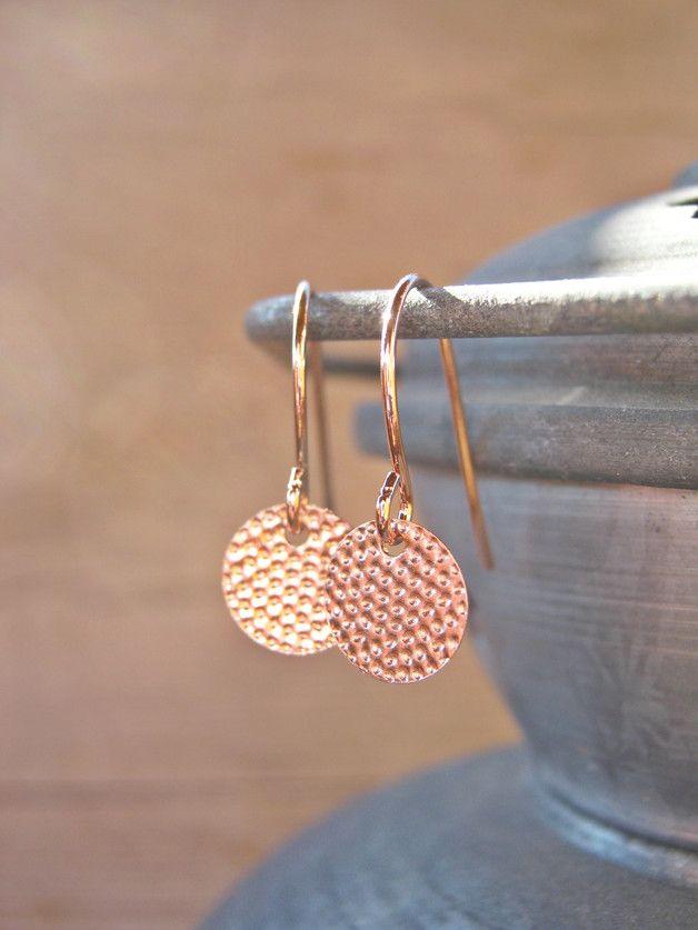 Zarte Plättchen-Ohrringe in Rosegold /  filigree earrings, rosegold made by MintDesigns via DaWanda.com