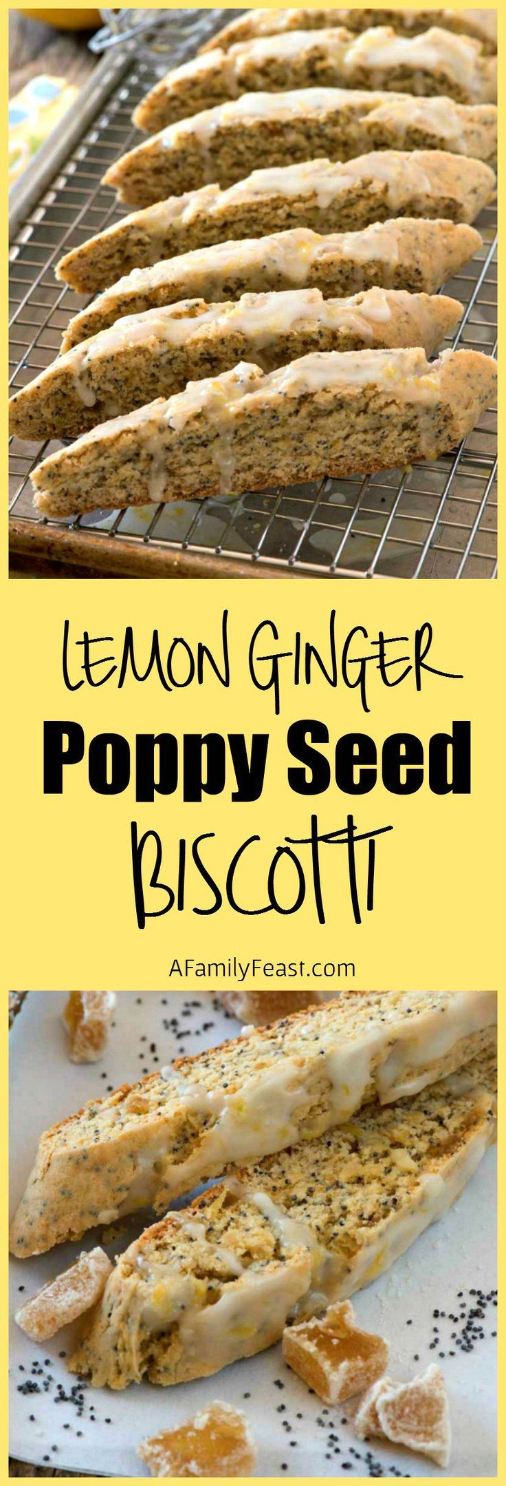 Lemon Ginger Poppy Seed Biscotti - Lemon poppy seed biscotti with bits of crystallized ginger and fresh lemon zest. So delicious!
