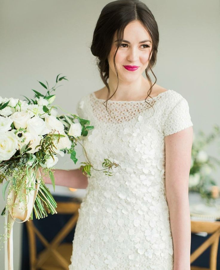 modest wedding dress with cap sleeves from alta moda. -- (modest bridal gowns)