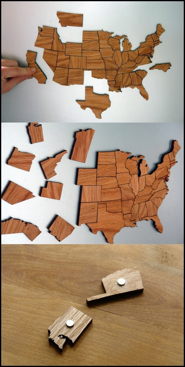 The Magnetic States of America wood puzzles