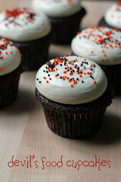 Devil's Food Cupcakes with Cream Cheese Frosting | a whisk and a spoon frosting is the best, love the honey in it