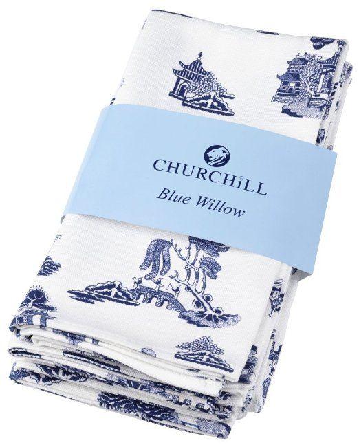 Amazon.com - Churchill Blue Willow Cotton Napkins (Set of 4)