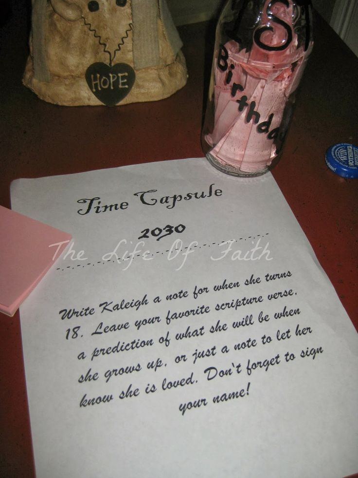 Create a time capsule for guests to write notes, Bible verses, or predictions of what your baby will grow up to be. Seal it up until their 18th birthday! #firstbirthdayidea #timecapsule