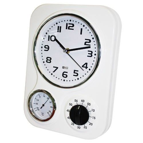 Wall Clock Kitchen Retro Metal - White 25% OFF | $59.00 - Milan Direct ncludes