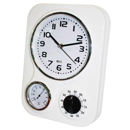 Wall Clock Kitchen Retro Metal - White 25% OFF | $59.00 - Milan Direct ncludes