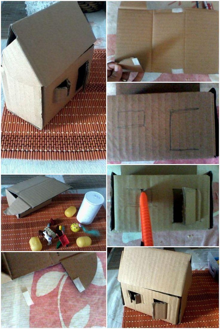 Este y mas modelos para hacer casitas con cajas de carton - Casitas para pesebre de carton ...