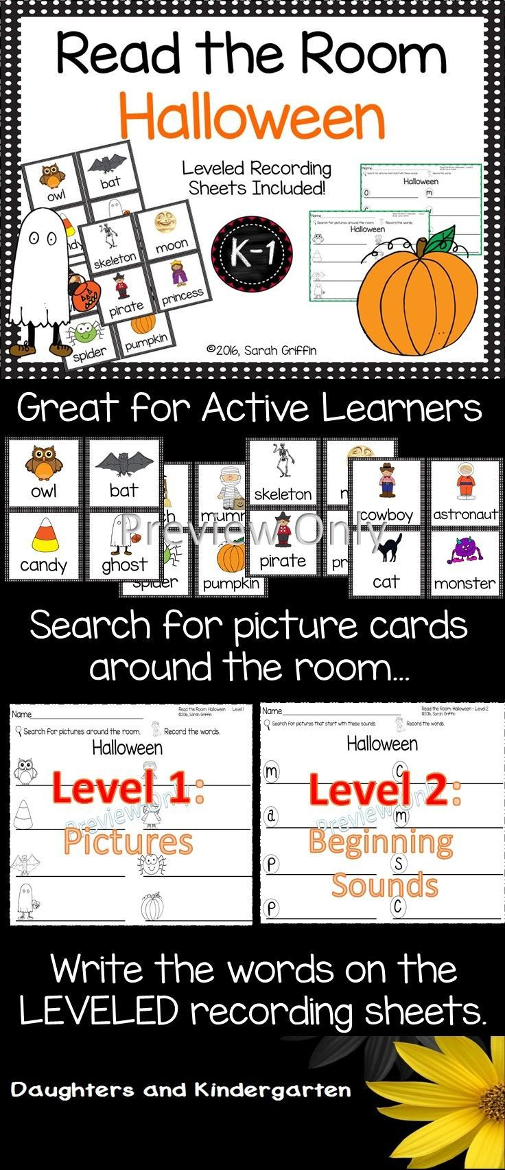 An interactive, reading and writing center for Halloween. PreK, Kindergarten, and 1st grade students read and write the room, recording the Halloween words (witch, bat, candy, ghost, pumpkin, spider, mummy, owl, moon, skeleton, pirate, princess, cowboy, astronaut, cat, and monster).   Sarah Griffin, Daughters and Kindergarten https://www.teacherspayteachers.com/Product/Read-the-Room-Halloween-2085511
