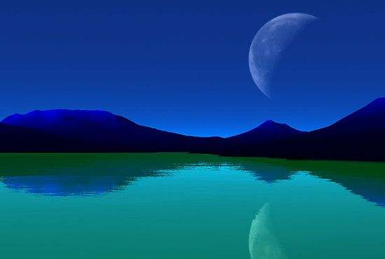stunning: Moon, Nature, Art Photography, Color, Colour Blue, Mountains Green Seas Quot, Blue Mountains Green, Fantastic Art, Amazing Earth