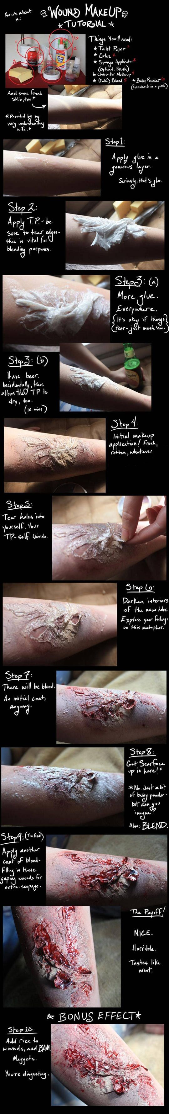 Wound makeup tutorial (yeah, I put this in DIY and Crafts)