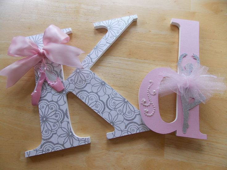Pink & Silver Ballerina Letter Set These letters are cut from baltic birch wood, sanded and painted with acrylics. Decorative papers and embellishments are added. Accents such as ribbons, bows, flowers, pearls, sequins, ballerina figurine w/ tutu and ballet shoes are included w/ the purchase of an entire name. Measurements: Capital Letter: approx. 10 in height x 3/8 thick Lower Case Letters: approx. 5 x 3/8 thick Shipping: $13.60 is the shipping fee for an entire name...
