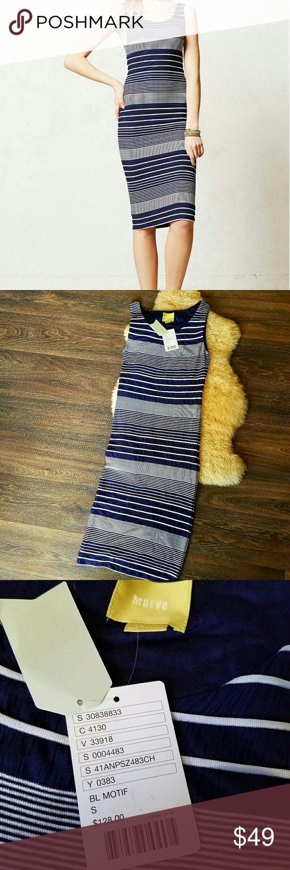 NWT Maeve Edisto Column Midi Navy Stripe Dress Perfectly new with tags from Anthropologie! This Navy and white stripe dress is textured and feels so well-made. Offers welcome! Anthropologie Dresses Midi