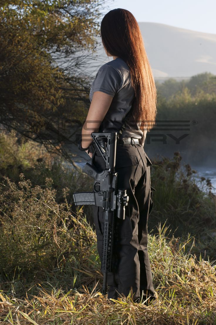 "KP standing by the Kern river with her APOC Armory 16"" Patiot 5.56 #ar15 #rifle #2a #blackrifle"