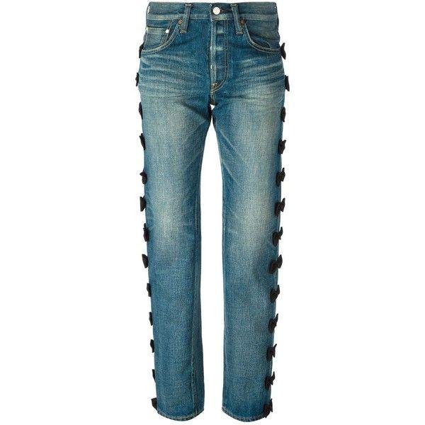 Tu Es Mon Tresor bow detail boyfriend jeans ($1,080) ❤ liked on Polyvore featuring jeans, blue, boyfriend jeans, bow jeans, blue jeans and boyfriend fit jeans