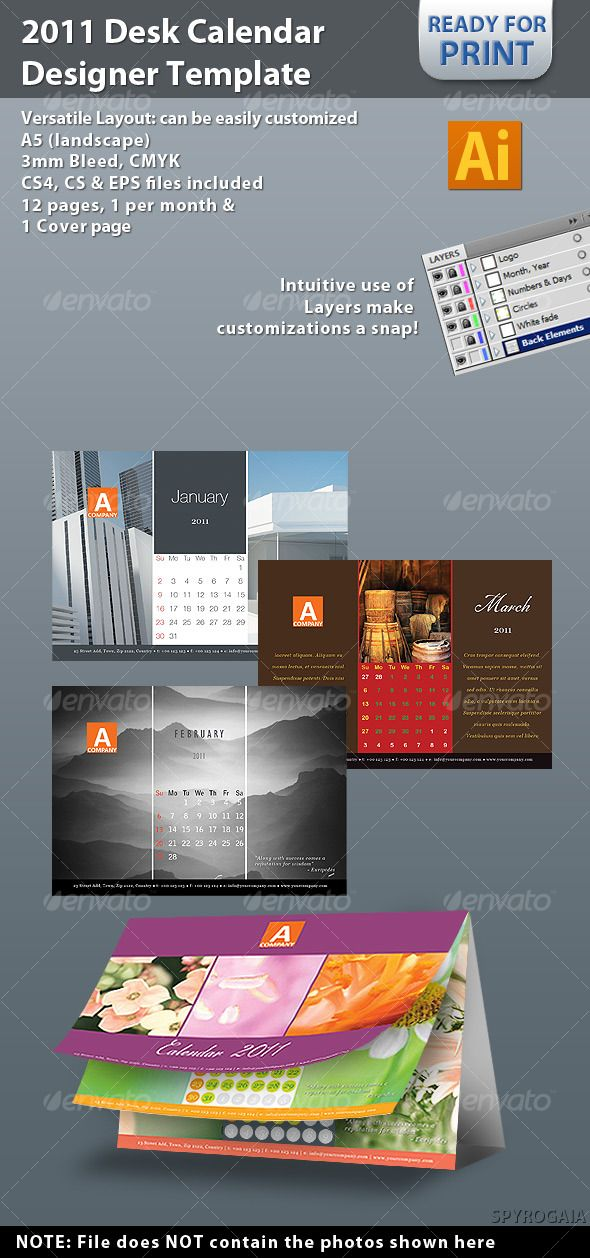 2011 Desk Calendar Designer Template Desk calendars, Template and