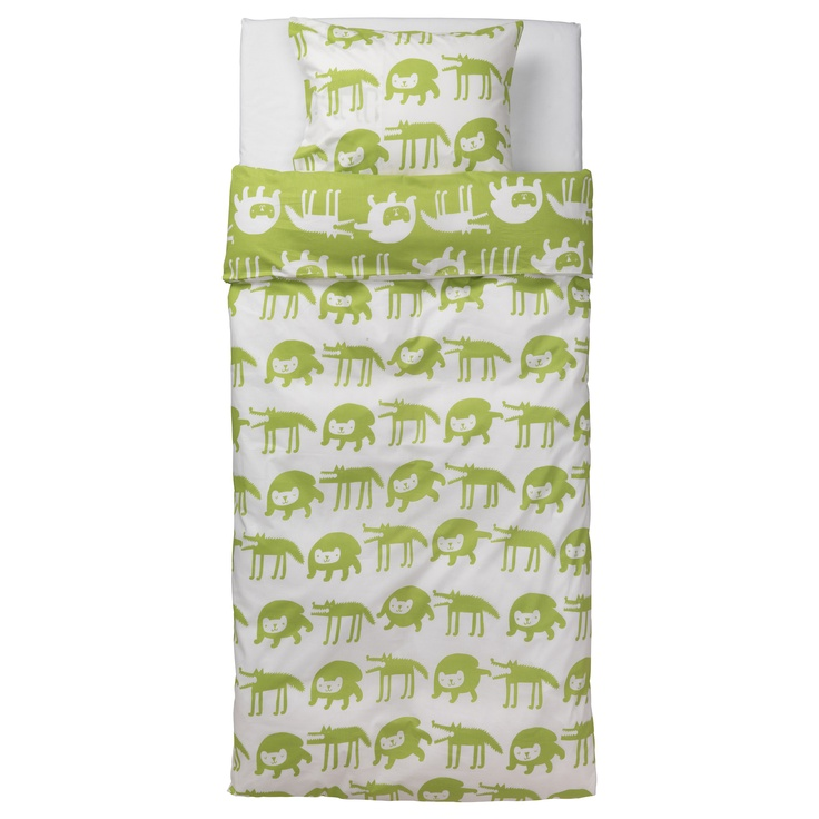 BARNSLIG ULVEN Duvet cover and pillowcase(s) - green/white - IKEA