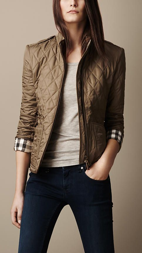 Check Cuff Quilted Jacket | Burberry