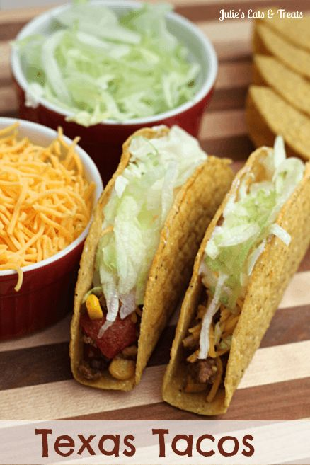 Texas Tacos - Tacos are taken over the top when they are stuffed full of taco meat, tomatoes, corn, red pepper and rice! via www.julieseatsandtreats.com #recipe #tacos
