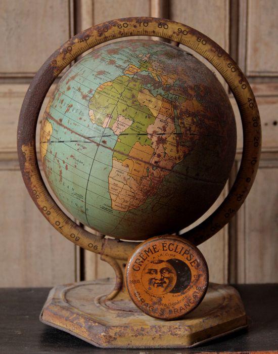"""Via rusticmeetsvintage: """" Mademoiselle Loulou.     Vintage globe """""""