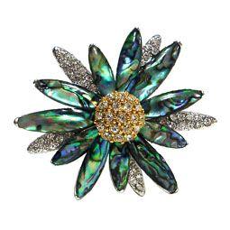 Mother of Pearl Dark Green Sunflower Brooch