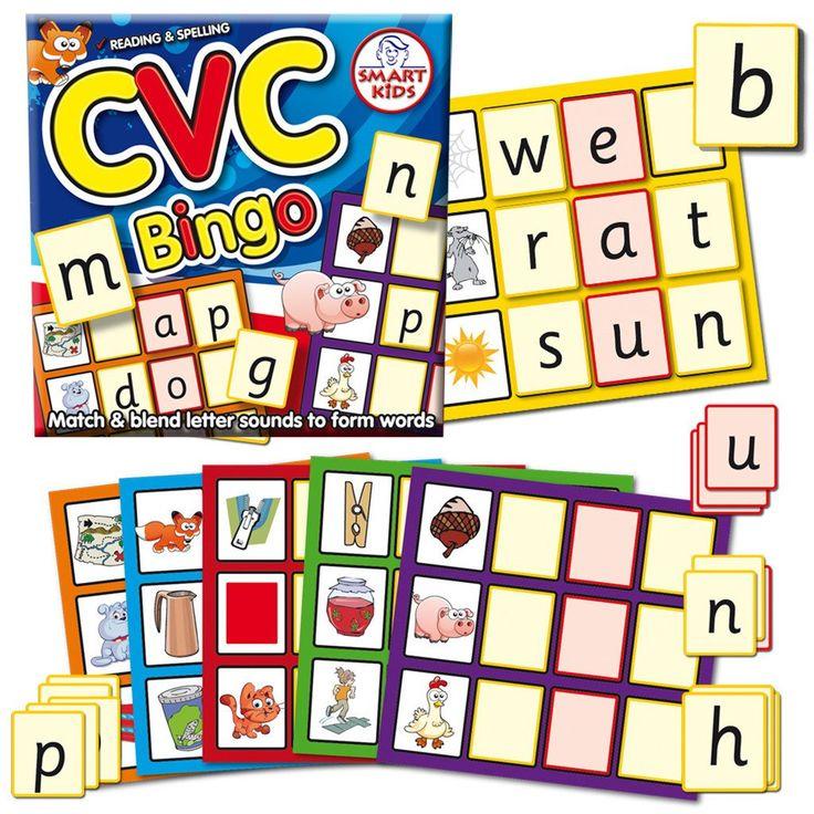CVC Bingo Letter sounds, Cvc words, Alphabet cards
